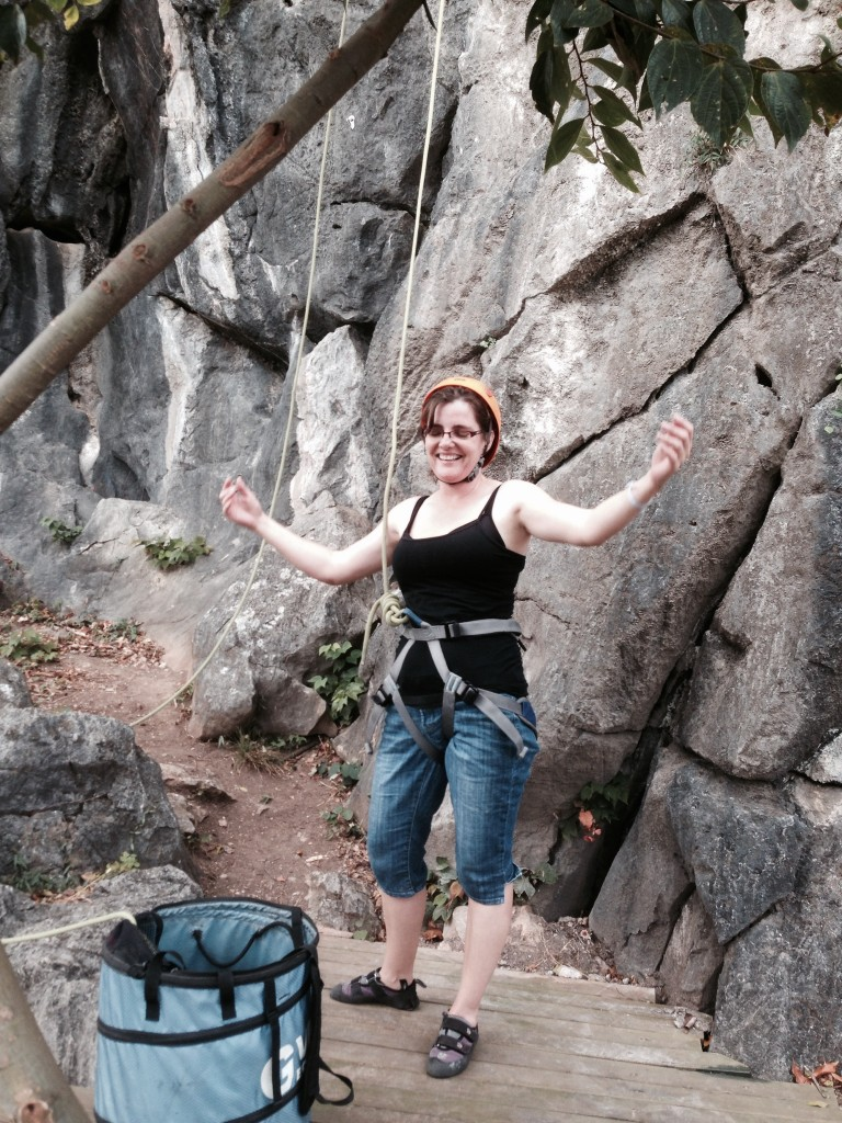 ED Annette Smith conquers the Rock climbing wall