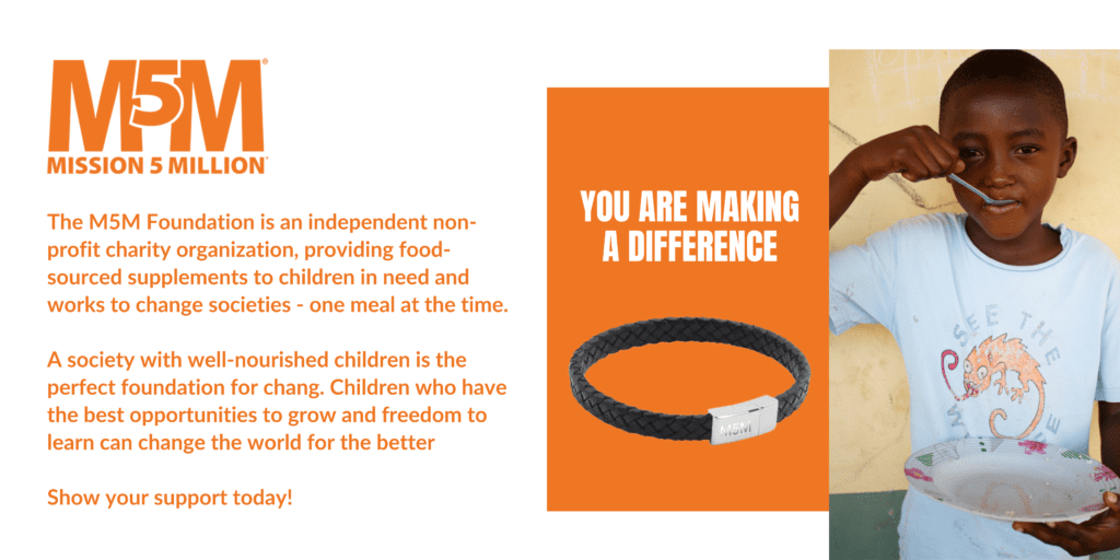 Bracelet to help children in need of a nutritious meal. Donation to malnourished children. Mannatech Global cause